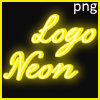Png neon glow sign with the outline